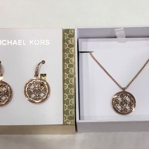 MICHAEL KORS Heritage Logo Disc Necklace & Earring